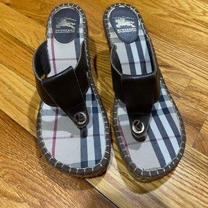 Authentic Burberry brown leather wedges 8.5